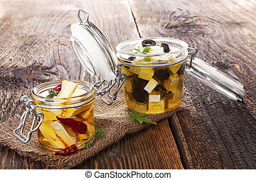 Marinated cheese in oil - Marinated camembert and greek feat...