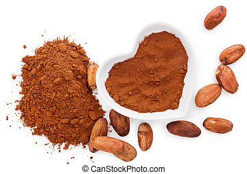 Cocoa beans. - Cocoa beans and cocoa powder on white...