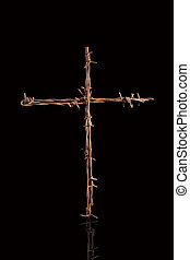Rusty barbwire cross. - Rusty barbwire cross isolated on...