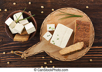 Tofu and tempeh background - Tofu and tempeh background on...