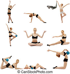 Set of many fitness poses by cute sportswoman Isolated on...