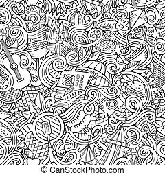 Cartoon hand-drawn picnic doodles seamless pattern - Cartoon...
