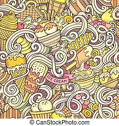 Cartoon hand-drawn ice cream doodles seamless pattern....