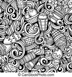 Cartoon hand drawn ice cream doodles seamless pattern. Line...