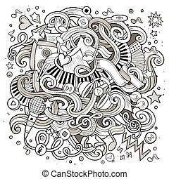 Cartoon hand-drawn doodles Musical illustration Line art...