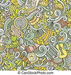 Cartoon hand-drawn picnic doodles seamless pattern....