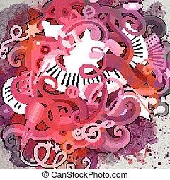 Cartoon hand-drawn doodles Musical illustration Vintage...