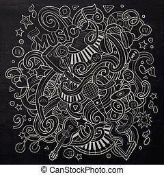 Hand-drawn chalkboard doodles Musical illustration Line art...