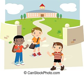 Back to school - Illustration of some children meet...