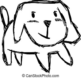 illustration vector hand draw doodles of cute dog smiling isolated on white background.