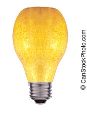 Light bulb made out of a pear - concept of green energy, isolated on white