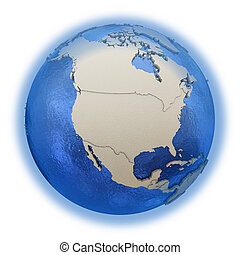 North America on model of planet Earth - North America on 3D...