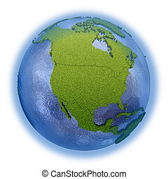 North America on planet Earth - North America on 3D model of...