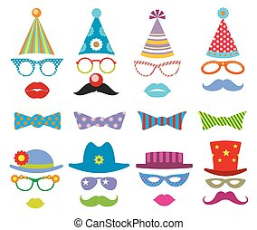 Birthday party photo booth props vector set. Party...