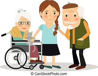 Caring for elderly patients. Young woman assisting elderly...