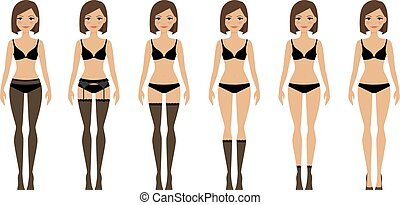 Women in different types of lingerie - Womens lingerie....
