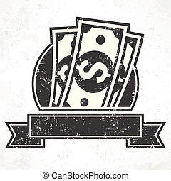 Paper bank notes. Money signs in grey. Vector illustration....