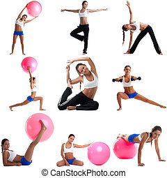 Photo set of cute woman doing fitness exercises in studio