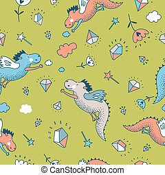 Cute funny vector seamless pattern. hand drawn doodle dragon...