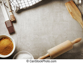 baking background - top view of kitchen table and baking...