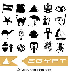 egypt country theme symbols outline icons set eps10