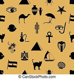 egypt country theme symbols icons seamless pattern eps10