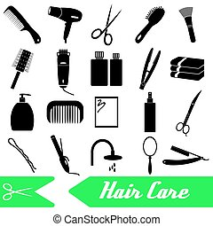 hair care theme black simple icons set eps10
