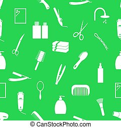 hair care theme green and white seamless pattern eps10