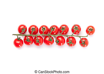 Red cocktail tomatoes on white backgrond - Red cherry or...