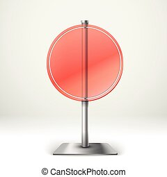 Blank transparent glass round information board. Template for a text