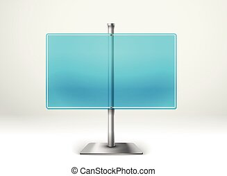 Blank transparent glass information board. Template for a text