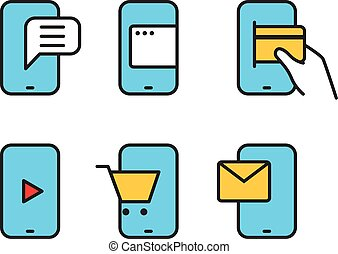 Different smartphone pictograms Lineart design collection