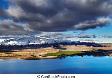 Lake Tekapo, view from Mount John, Mackenzie Country, New...