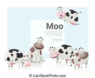 Animal background with cows ,vector, illustration