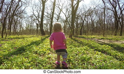 Walk in forest girls - Baby girl is on spring forest
