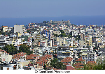 Greece, Kavala, cityscape with fortress