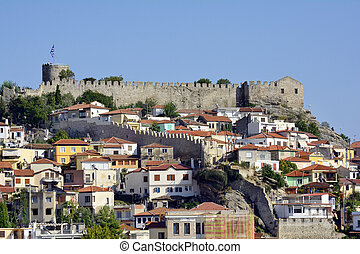 Greece, Kavala, fortress and buildings in Panaghia peninsula
