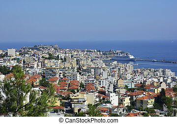 Greece, Kavala - Greece, cityscape of Kavala with fortress,...