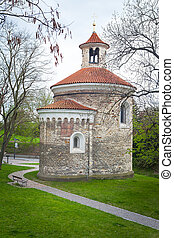 Oldest Rotunda of St Martin in Vysehrad, Prague, Czech...