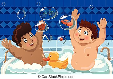 Kids Having a Bubble Bath - A vector illustration of kids...