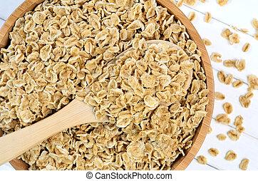 Heap of oats on bowl