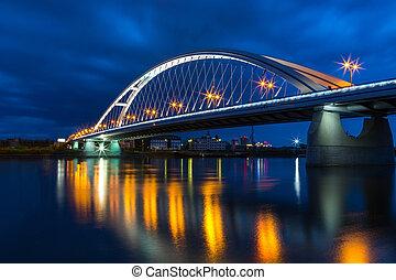 Apollo bridge in Bratislava. Slovak - Apollo bridge in the...