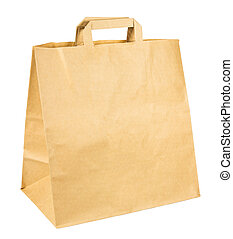 Simple brown paper shopping bag isolated on white background