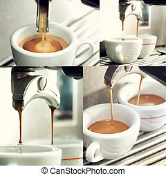 Collage of an espresso machine making a cup of coffee -...