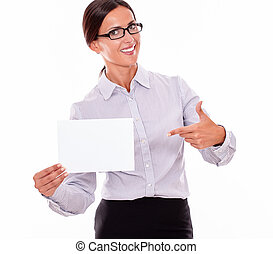 Excited brunette businesswoman with a signboard - Excited...