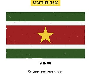 Surinamese grunge flag with little scratches on surface A...
