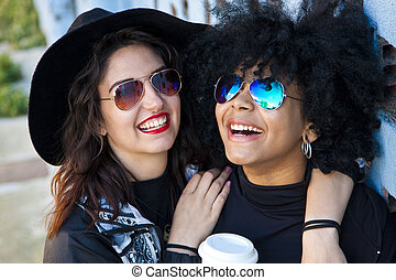 girls smiling on the street