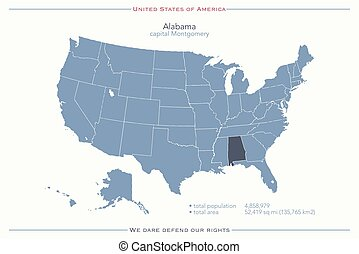 alabama - United States of America isolated map and Alabama...