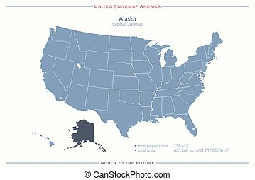 alaska - United States of America isolated map and Alaska...