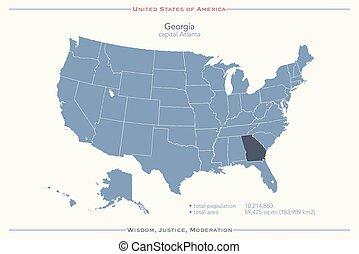 georgia - United States of America isolated map and Georgia...